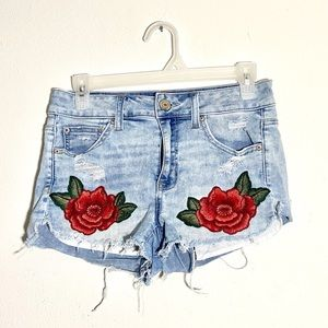American Eagle Rose Patch High Rise Shorts